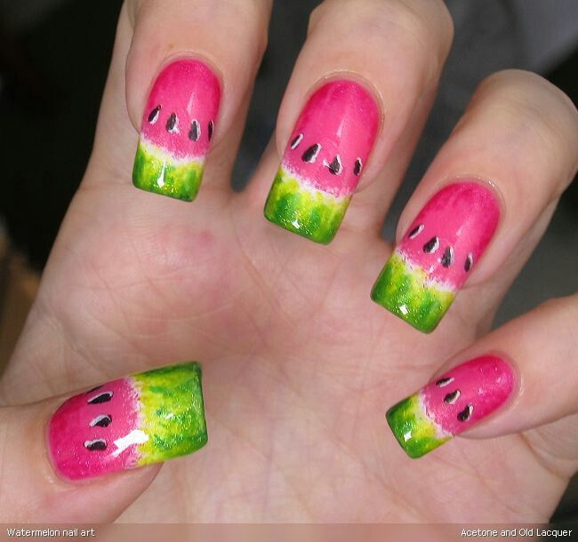 Watermelon nail art | Beauty | Pinterest