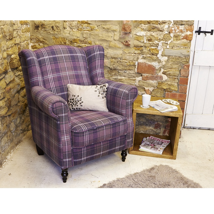 Nathan Wing Armchair in plum tartan, available in store and online at www.curiosityinteriors.co.uk   Also available in blue.