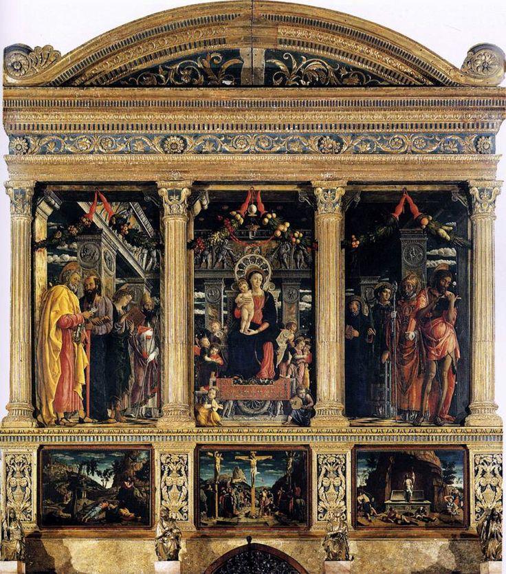 """ANDREA MANTEGNA. """"Pala di San Zeno"""". Tempera su tavola . la cornice 480x450 cm, scomparto centrale 125x212, sinistro 135x213, destro 134x213. 1457-1459. basilica di San Zeno, Verona"""