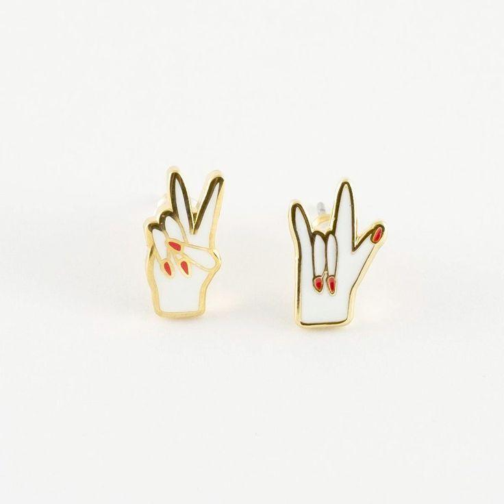 Peace & Love Earrings - 22K Gold - Best gift ever! - Made of Sundays
