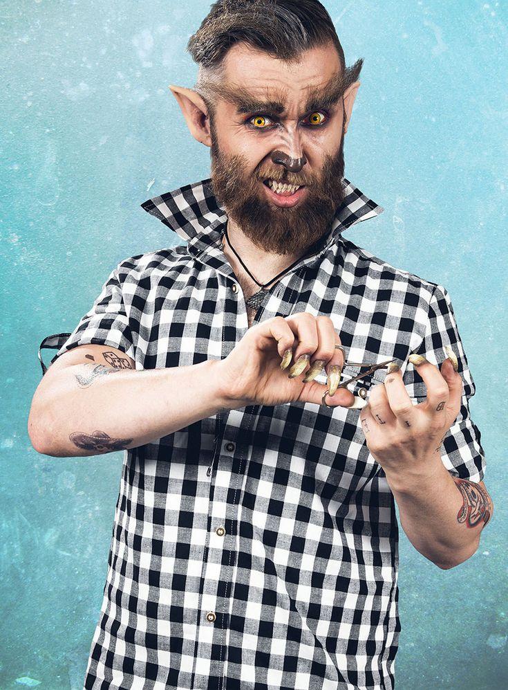 Halloween Hipster Werwolf Schminkanleitung  #maskworld #trend #hipster #werwolf #zähne #karo #halloween