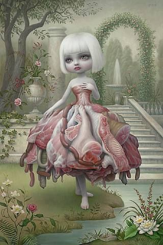 Mark Ryden. Quite a picture look closely at what the dress is