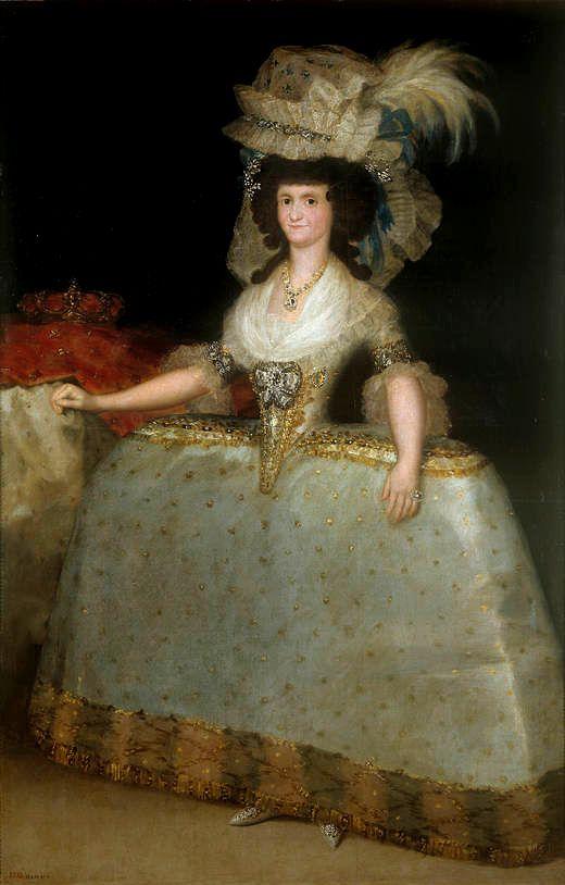 En este retrato de la reina Mª Luisa, Goya muestra el atuendo de gala propio del periodo rococó tardío, con amplia falda de jaulas laterales (tontillo), mangas cortas y tocados excesivos.
