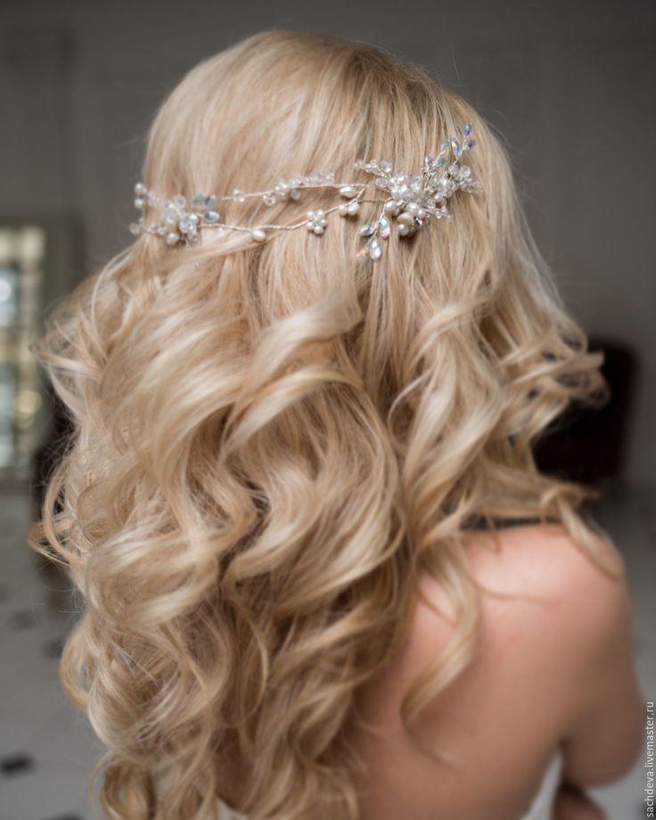 Купить Украшение для волос - белый, украшение для волос, свадьба, выпускной, свадебное украшение, свадебная диадема