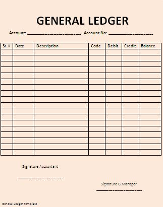 General Ledger Template Printable | ... of general ledger template with a link to download the template