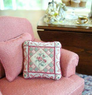 Miniature petit point cushion