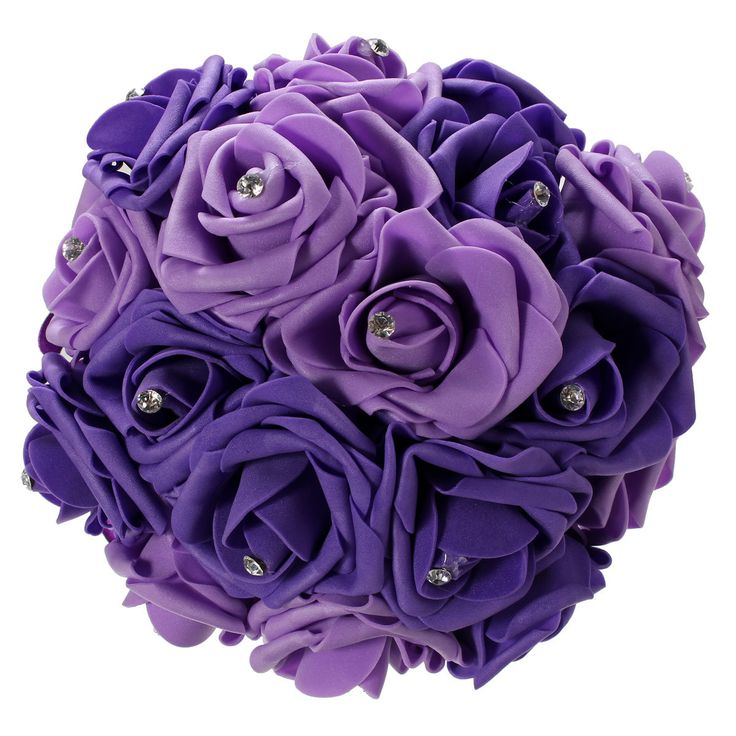 11.8'' Crystal Bridal Bridesmaid Bouquet Foam Flower Roses Wedding Posy