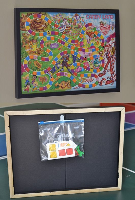 Tutorial to make a custom frame for a board game. Hang it on a wall with a plastic bag on back for the game pieces.