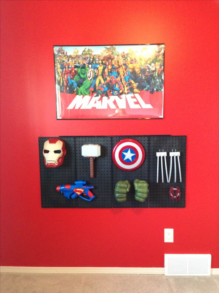 Superhero room: pegboard for superhero disguise & gadgets