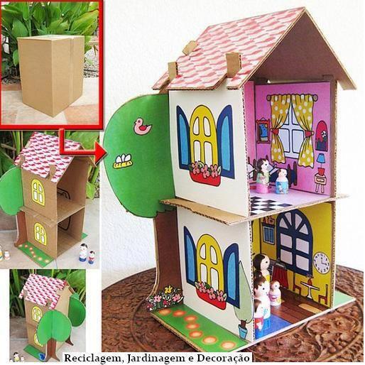 cartoni casa delle bambole_Reciclagem Jardinagem e Decoraçao