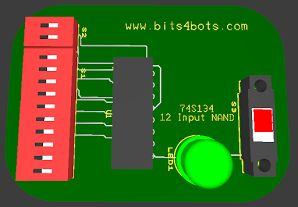 74S134 12 Input NAND Gate (3-State)  http://www.bits4bots.com/blog/74s134-12-input-nand-gate-3-state Pinout for the 74S134| 12 Input NAND  Useful for alarm systems, logic designs, and more. See datasheet below. Diagrams shoe 3D connection in Ultiboard and 2D schematic in Multisim.  How would you implement this TTL?