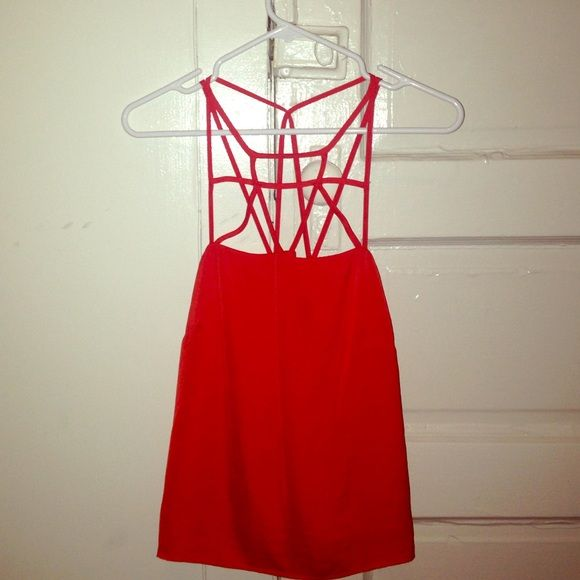 Red strappy top Red blouse with strappy top. Has only been worn once! Perfect with jeans and heels H&M Tops Blouses