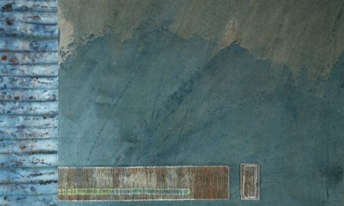 """Helen Terry """"Written in the mountains"""" (detail). 2014. Cotton, dyed and hand stitched."""