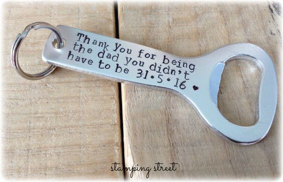 Gifts for Stepdads, Personalised, Hand Stamped, Bottle Opener. Gifts for Father's Day, Wedding Gift, Father of the Bride, Groom, Step Dad