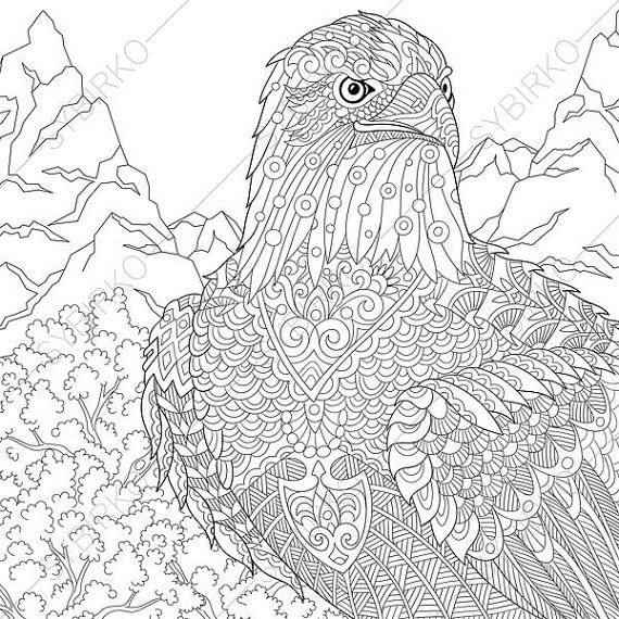 Eagle Adult Coloring Book Page Zentangle Doodle Pages For Adults Digital Illustration