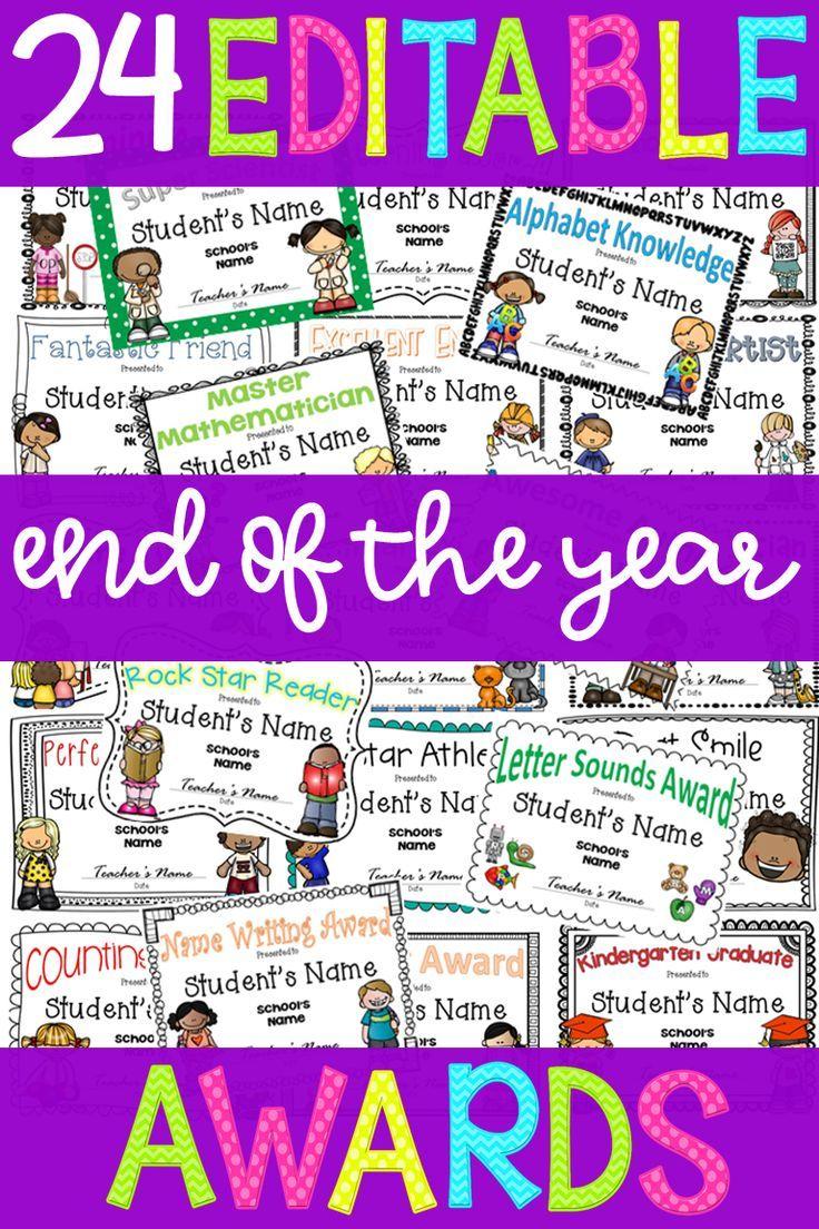 End of Year Awards *EDITABLE* for pre-k or kindergarten graduation ...