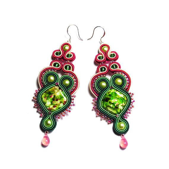 Soutache earrings green pink jewelry handmade gift for sale to