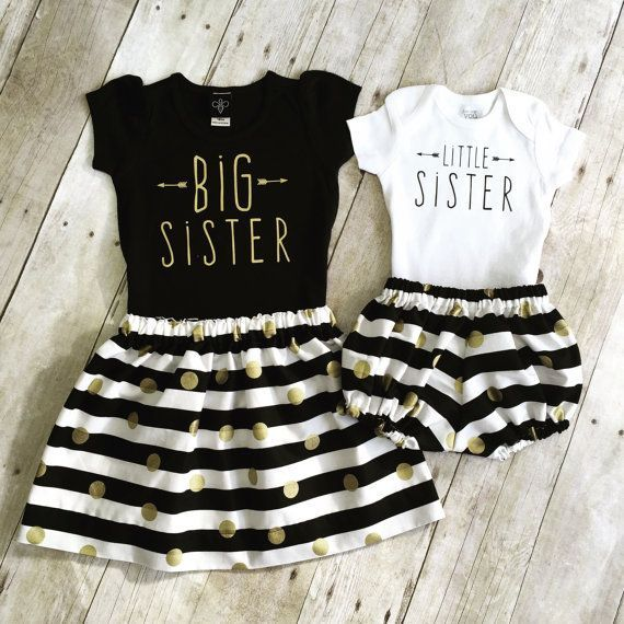 Absolutely adorable girls big sister and little sister outfit! Listing includes skirt, big sister shirt, shorties and onesie. There are many #littlegirloutfits
