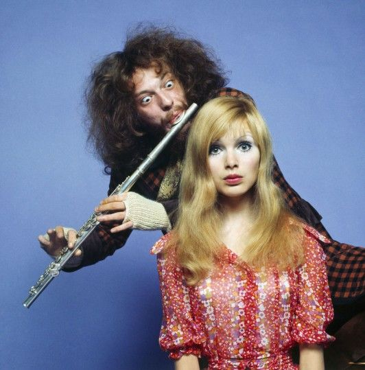 Ian Anderson of Jethro Tull and Madeline Smith, via.