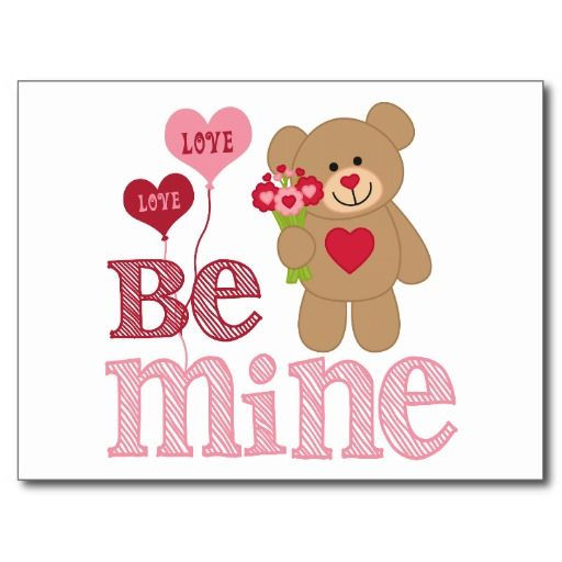 Be Mine Valentine Teddy Post Cards - #zazzle