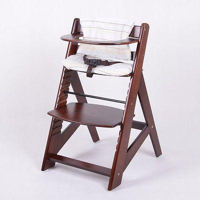Chaise-Haute-en-bois-Ajustable-Chaise-bebe-Escalier-chaise-haute-BRUN