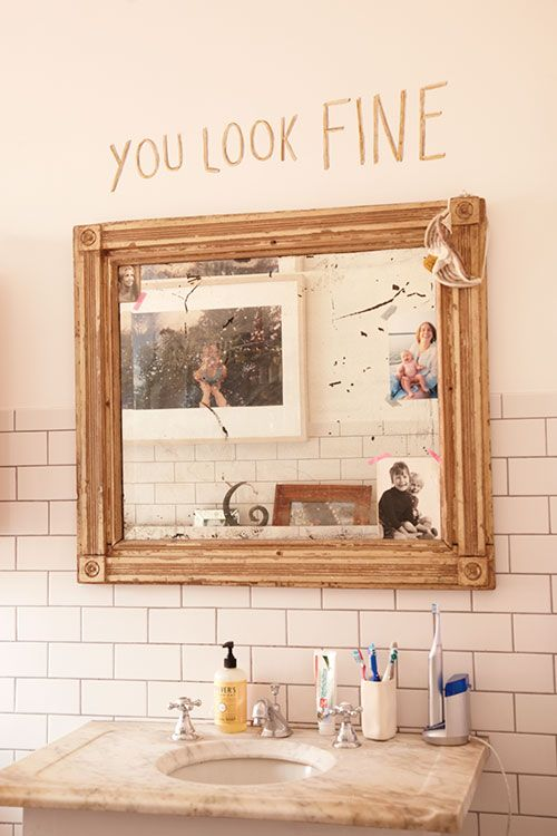In the bathroom there is a mirror...