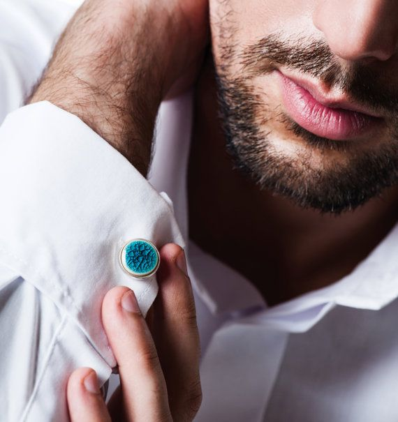 Light turquoise cufflinks 15mm 06 Turquoise by ZuDesignJewelry