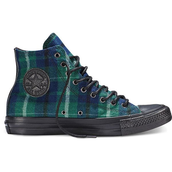 Converse Chuck Taylor All Star Plaid – flannel green Sneakers found on Polyvore featuring shoes, sneakers, flannel green, converse sneakers, converse trainers, flannel shoes, green shoes and tartan shoes