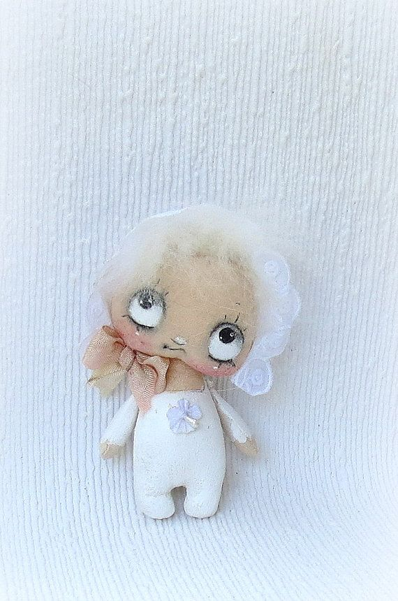 hand made hand painted baby cloth  doll by suziehayward on Etsy, $48.00