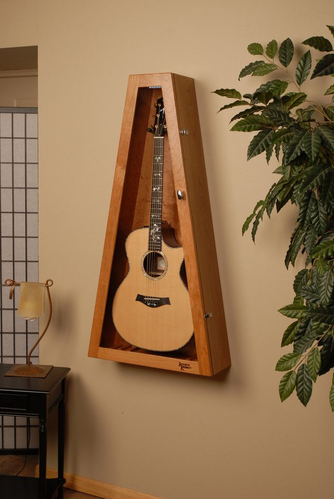 wall mounted humidified guitar display case, guitar humidor, cherry