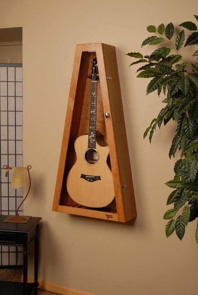 wall mounted humidified guitar display case, guitar humidor, cherry