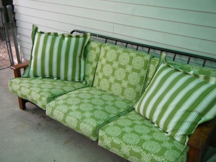 "I had a futon frame that I wasn't using ""inside"". So I bought patio cushions from Walmart and moved it to the patio."