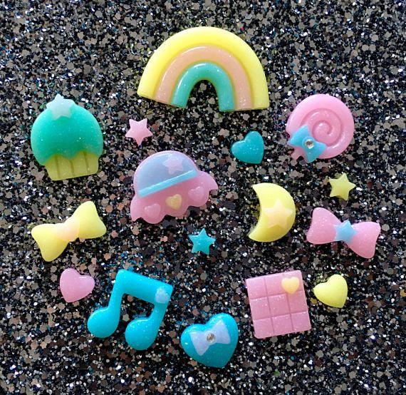 16 pcs  Kawaii Shimmer Rainbow Cabochon Flatback Set  10mm