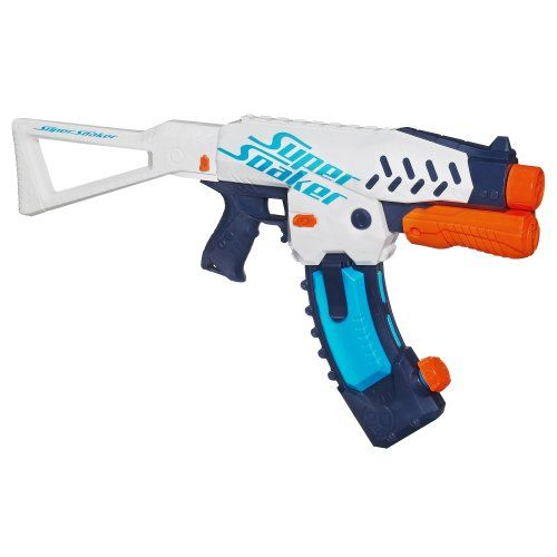 Super Soaker Switch Shot Blaster Holds up to 20 fluid ounces of water,Fires  water up to 25 feet,Carry extra banana clips (sold separately) for extra  ammo