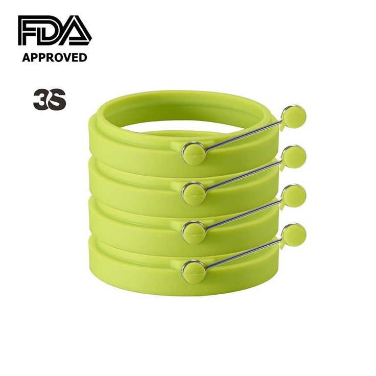 3S Egg Ring Cooker / Pancake Mold. Premium Silicone Egg Rings Non Stick Set of 4 Green *** You can get more details by clicking on the image.