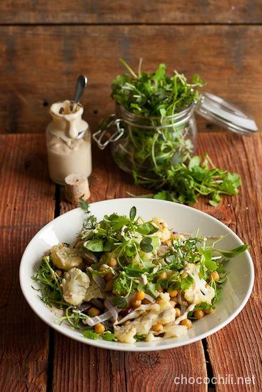 Vegan Roasted Cauliflower and Chickpea Salad with Tahini ...