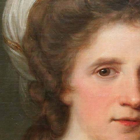 Particolari di opere 3. Angelika Kauffmann: Autoritratto. Olio su tela, del 1784. Cm 64,8 X 50,7. Neue Pinakothek, Monaco di Baviera. I capelli ricci, coronati da una sciarpa bianca a righine dorate non sono incipriati, contrariamente alla moda dell'epoca.