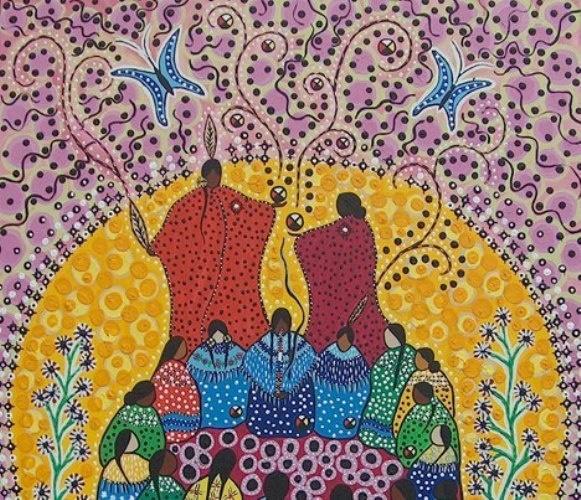 10 La mujer, la señora, la madre del Sol, conoce el sonido del silencio y el canto que el silencio entreteje en el vientre de los seres luminosos. Sabe mirar, sabe ver a las personas, las mira y las conoce, las comprende