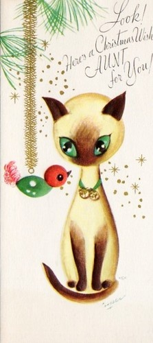 """Vintage Christmas Cat Card """"Look! Here's A Christmas Wish AUNT For You!"""""""