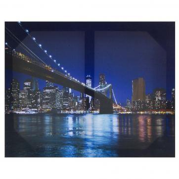 Холст 50х40 см «Бруклинский мост ночь»