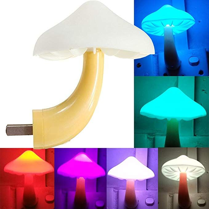 Ausaye Led Night Light Plug In Lamp Mushroom Night Light 7 Color