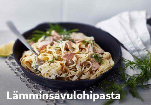 Lämminsavulohipasta. Resepti: Valio #kauppahalli24 #ruoka #resepti #lohipasta