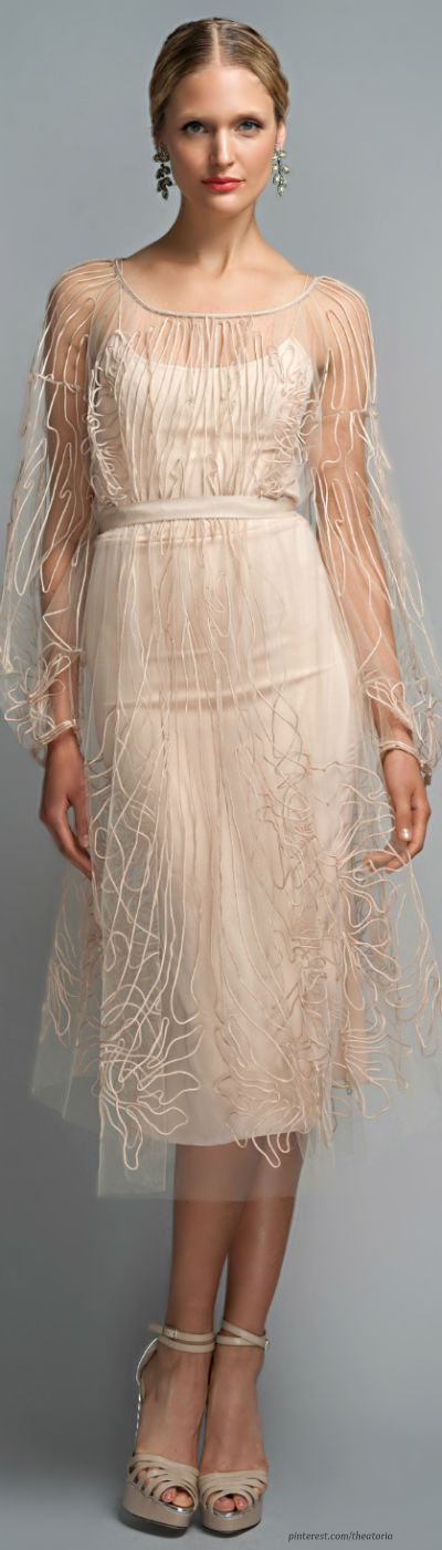 """Zac Posen ● Champagne Cocktail Dress ❁❁❁Thanks, Pinterest Pinners, for stopping by, viewing, pinning, & following my boards.  Have a beautiful day! ❁❁❁ **<>**✮✮""""Feel free to share on Pinterest""""✮✮"""" #fashion  #gifts www.unocollectibles.com"""