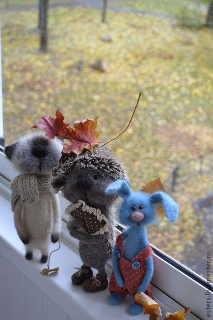 Заказ для Екатерины - белый,серый,голубой,котик,ежик,зайчик,подарок,игрушка ручной работы