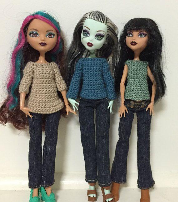 sweater / jumper / top crochet pattern for Monster High / Ever After High regular size girls PDF