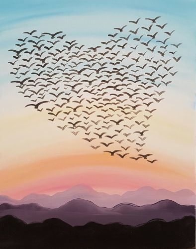 Birds shaped like heart painting. Love Is In The Air III at Cafe Ponte