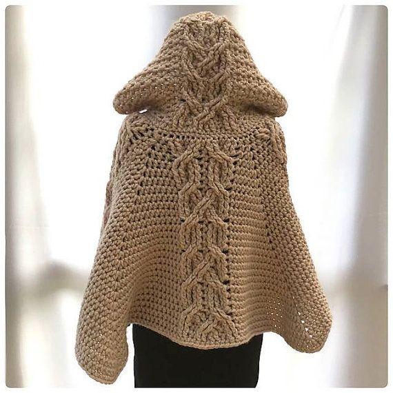 poncho con cappuccio inverno abbigliamento di TinasHandicraftGr