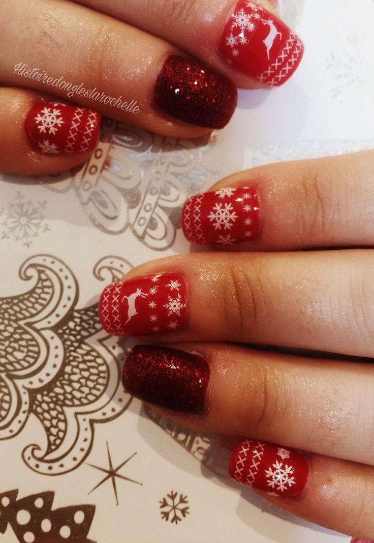 Nail art noel. Deco stockées ongles en gel