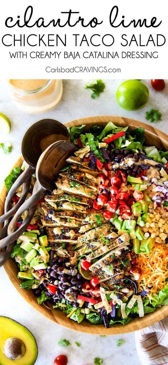 Ich konnte nicht aufhören, diesen Koriander-Limetten-Hühnchen-Taco-Salat zu es…