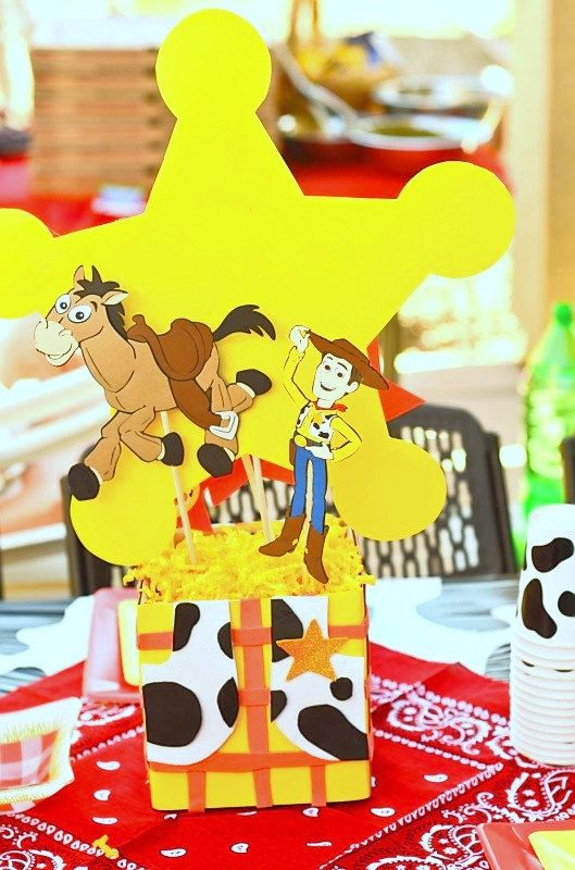 WOODY Party  Centerpiece Holder  Toy Story by PSKreativeKreations, $10.00